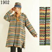 エスニックゲレ織フード付きジャケットコート長袖ネパールレディースファッション1504BC1902