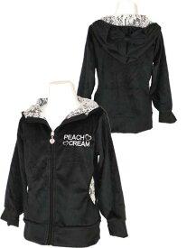 キッズ/女の子/子供☆【PEACH&CREAM】ミニシャギーパーカージャケット