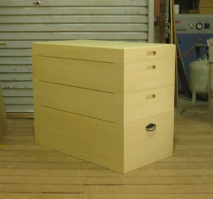 衣装箱木製雛人形シンプル総桐衣装箱3段・キャスター付製造直売商品番号hina4