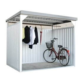 欠品中 納期約2カ月 配送条件限定商品 ダイマツ 多目的万能物置 DM-10L 壁パネルロングタイプ 土台寸法 間口2347×奥行1615 『自転車屋根 横雨に強いスチールタイプ』