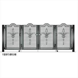 四国化成 ビビオ門扉 1型 柱仕様 4枚折り扉 0912 ブラックつや消し