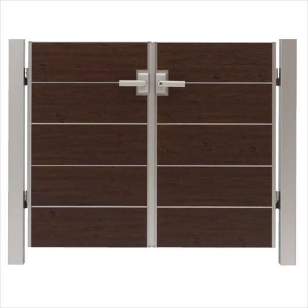 タカショー エバーアートウッド門扉 シンプルスタイル 柱仕様 W600×H1000 両開き レバーハンドル錠
