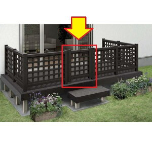 YKKAP リウッドデッキ200 リウッドデッキ門扉1型(井桁格子) T80+中柱+(吊元用)中柱セット ウッドデッキ 門扉 人工木 樹脂 diy