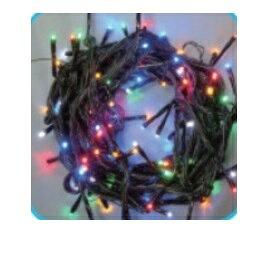 コロナ産業 LEDストレートコード100球(ブラックコード)/連結専用/電源部別売り LPR100M5 LED色:5色ミックス 『イルミネーションライト』