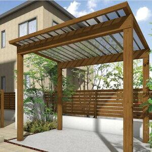 サイクルポート タカショー スノースタイル ミニ 熱線吸収ポリカ屋根使用(ブルースモーク) 標準柱(H18) 2400×2498  『サビに強いアルミ製 家庭用 おしゃれ 自転車置場 屋根』