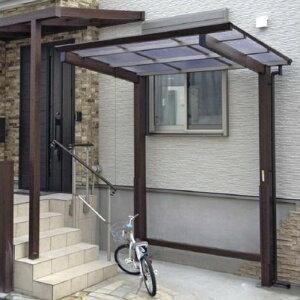 サイクルポート タカショー アートポートミニ 21-28 ロング柱(H25) 熱線カットポリカ屋根(グレースモーク色) 『サビに強いアルミ製 家庭用 おしゃれ 自転車置場 屋根』