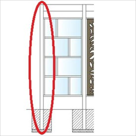 タカショー エバースクリーン フレームレス用柱 75角 (キャップ付)  H2400用 L=2900 ウッドカラー ※受注生産品