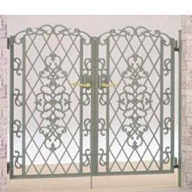 リクシル TOEX キャスグレード双樹 柱使用 06-12 両開き 『リクシル』『アルミ門扉』 シルバーグリーン