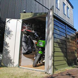 【欠品中 次回納期未定】ガーデナップ メタルシェッド TM2 ペントルーフ TM2OG 『自転車・バイクの盗難対策に バイクガレージ』 オリーブグリーン