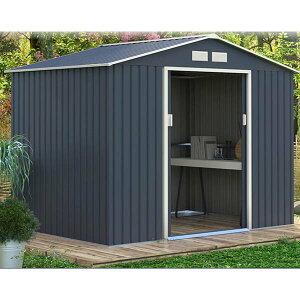 リーベ メタルシェッド 物置小屋  006 ダークグレー&ホワイト 約3畳 収納庫  『おしゃれ 物置小屋 屋外 DIY』