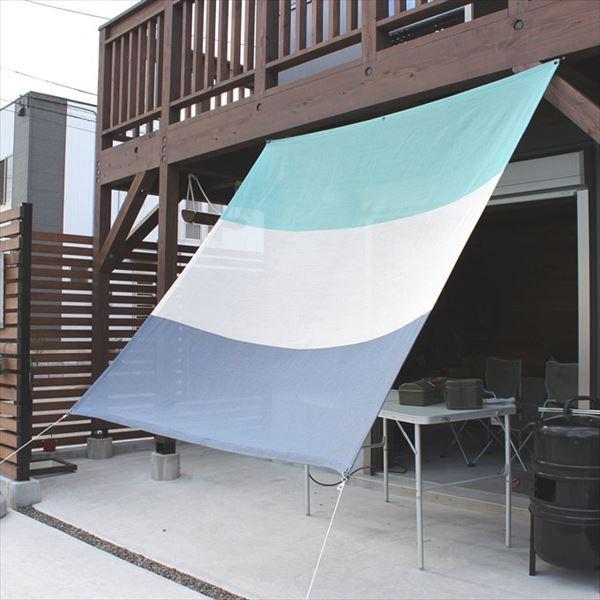 イチオリシェード 3ボーダー 『屋外用日よけ 透過性と通気性へのこだわり 日本製 シェード』 500729 マリンブルー