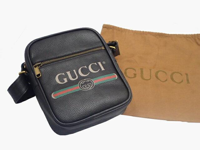 GUCCI グッチ 523591 グッチプリントレザー メッセンジャーバック ショルダーバック ブラック ヴィンテージ