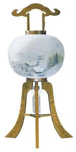 【木製提灯】天翔けやき72号 彩花 絹二重張り 足板厚め 芙蓉に山水の絵柄 電装コード付き