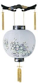 【吊り提灯】尺二丸 紫小花 アイリスの絵柄 LED電池ローソク付き