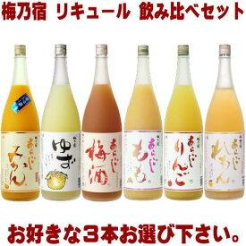 梅乃宿 リキュール 1800ml 3本 選べる 飲み比べセットあらごし梅酒 ゆず酒 あらごしもも あらごしみかん あらごしりんご あらごしれもんから3本お選びください。送料無料 送料込み 梅酒 梅の宿 奈良県 福袋 飲み比べ