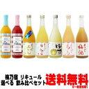 梅乃宿 リキュール 720ml 6本 選べる 飲み比べセットあらごし梅酒 ゆず酒 あらごしもも あらごしみかん あらごしりん…
