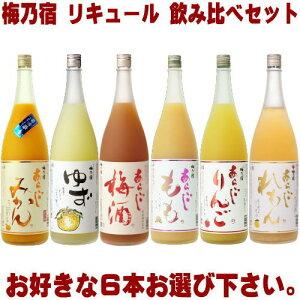 梅乃宿 リキュール 1800ml 6本 選べる 飲み比べセットあらごし梅酒 ゆず酒 あらごしもも あらごしみかん あらごしりんご あらごしれもんから6本お選びください。送料無料 送料込み 梅酒 梅の