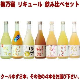 梅乃宿 クールゆず 720ml 2本とリキュール 720ml 4本 選べる 飲み比べセットあらごし梅酒 ゆず酒 あらごしもも あらごしみかん あらごしりんご あらごしれもんから4本お選びください。送料無料 送料込み 梅酒 梅の宿 奈良県 福袋 飲み比べ