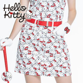【代引手数料&送料無料】ゴルフ スカート 丈長め 限定キティちゃんコラボ★ぎっしりキティちゃんプリントスカート | インナーパンツ一体型 ゴルフウェア レディース ゴルフウエア ゴルフ かわいい おしゃれ レディースゴルフウェア