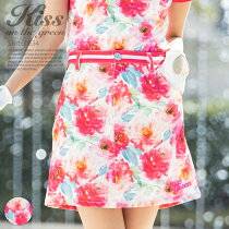 ウエストライン入り花柄台形スカート