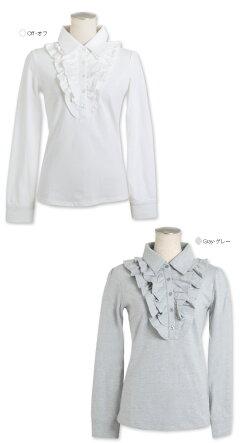 胸元フリルの長袖スウィートポロシャツ