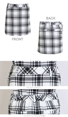 チェック柄プリントポロシャツ&スカート上下セット