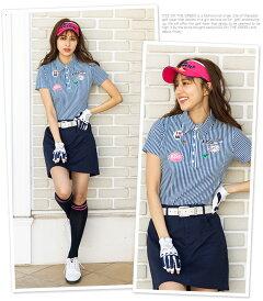 ロゴワッペン付き細ストライプ半袖ポロシャツ