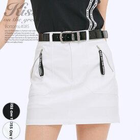 ゴルフウェア レディース スカート モノトーン配色 丈長め / ロゴリボン付きファスナーストレッチスカート / インナーパンツ付き 裏地付き / ゴルフ スカート シンプル おしゃれ