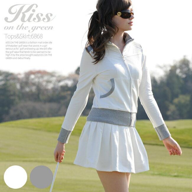 【送料無料】キスオンザグリーン ブルゾン×スカートの上下セットアップ ワンピース ゴルフウェア レディース インナースカート付き 裏地付き 全2色 オフ/グレー