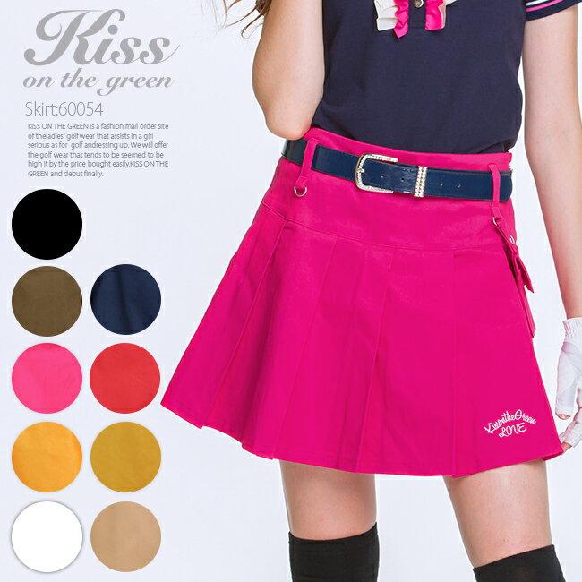 【送料無料】キスオンザグリーン ポーチ付きボックスプリーツスカート ゴルフウェア レディース ゴルフスカート インナーパンツ付き 裏地付き 全9色 M/L 大きいサイズ