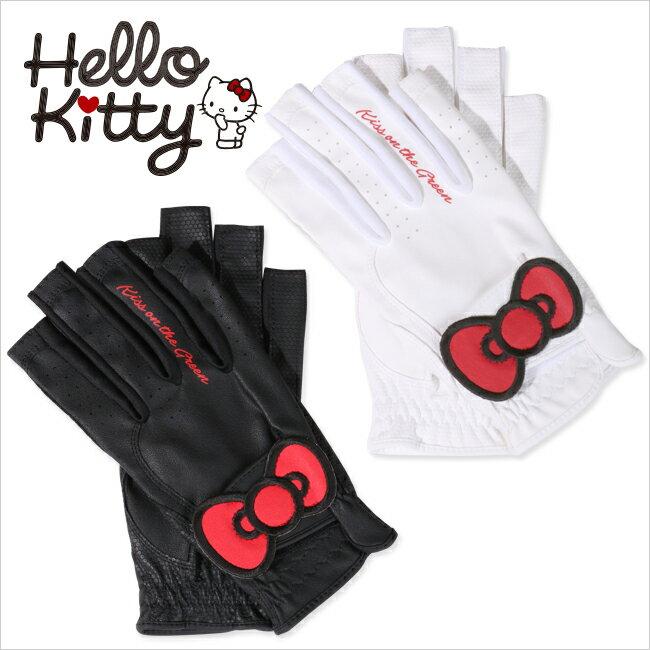 【代引手数料無料】限定Hello Kittyコラボ キティちゃんグローブ【両手・指先開き】(ゴルフウェア レディース ゴルフウエア)
