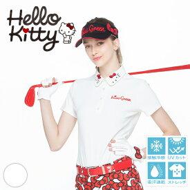 【代引手数料&送料無料】限定Hello Kittyコラボ キティちゃん襟刺しゅうポロシャツ【吸水速乾・UV加工・接触冷感】 | ゴルフウェア レディース ゴルフウエア ゴルフ かわいい おしゃれ レディースゴルフウェア