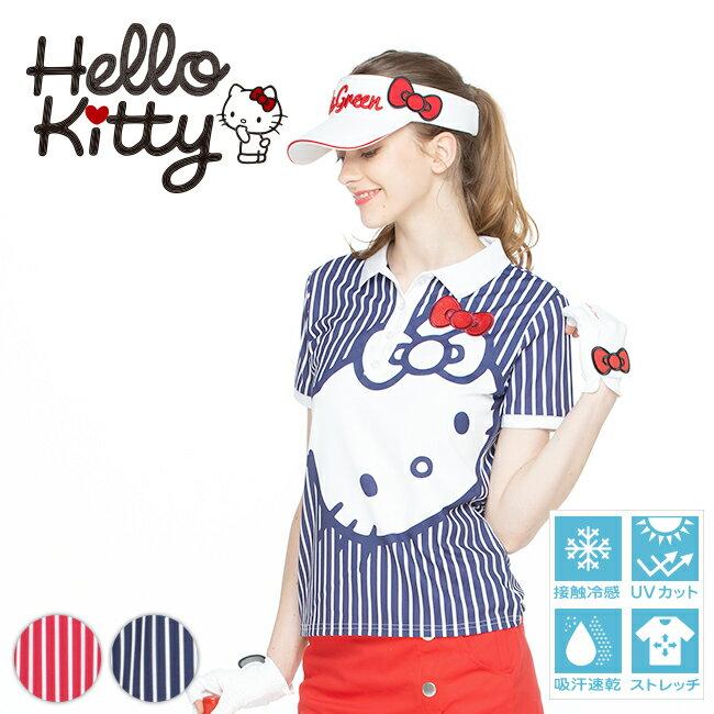 【代引手数料&送料無料】限定Hello Kittyコラボ キティちゃんプリントポロシャツ【吸水速乾・UV加工・接触冷感】 | ゴルフウェア レディース ゴルフウエア ゴルフ かわいい おしゃれ レディースゴルフウェア