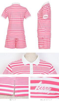ランダムボーダープリントポロシャツ&ショートパンツ上下セット