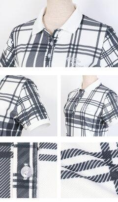 モノトーンチェック柄ポロシャツ&ショートパンツ上下セット