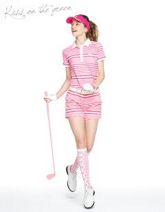 【代引手数料&送料無料】ランダムボーダープリントポロシャツ&ショートパンツ上下セットワンピース【吸水速乾・UV加工・接触冷感】|ゴルフウェアレディースゴルフウエアゴルフかわいいおしゃれレディースゴルフウェア