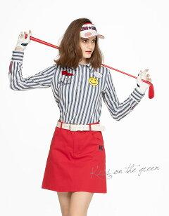 ニコちゃんワッペン刺繍付きストライプ長袖ポロシャツ