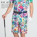 【代引手数料&送料無料】KG-ALEX ボタニカル柄アジャスター付きハーフパンツ ゴルフウェア メンズ M-L (ゴルフウェア …
