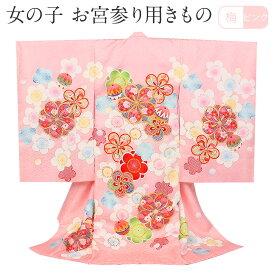 お宮参り 着物 女の子 産着 ピンク 梅 正絹 祝い着 のしめ 掛け着 初着 服装 赤ちゃん 販売