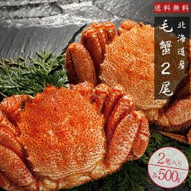 毛がに500g2尾【ボイル毛蟹】特大の北海道産毛ガニ 蟹味噌が最高のカニ 三大蟹の1つのけがに ボイル毛蟹 送料無料