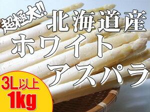 ホワイトアスパラガス超極太【3L以上、1kg】送料無料!北海道産※只今発送中!