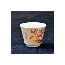台湾 茶器 茶杯 花布柄 ベージュ