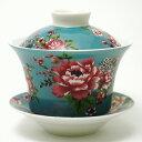 台湾 茶器 蓋碗 花布柄 ブルー (新太源製) 【台湾 茶器 烏龍茶 お土産 かわいい おしゃれ きれい 花柄 高級感】