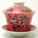 台湾 茶器 蓋碗 花布柄 ピンク (新太源製)【台湾 茶器 烏龍茶 お土産 かわいい おしゃれ きれい 花柄 高級感】