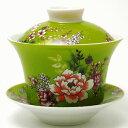 台湾 茶器 蓋碗 花布柄 グリーン(新太源製)【台湾 茶器 烏龍茶 お土産 かわいい おしゃれ きれい 花柄 …
