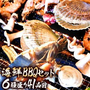 6種41品海鮮バーベキューセット(赤エビ×10、殻付きホタテ×10、片貝大あさり×10、蝦夷アワビ×2、するめいか×3、いか下足串×6)バーベキュー セット バーベキューセット 海鮮バーベキ