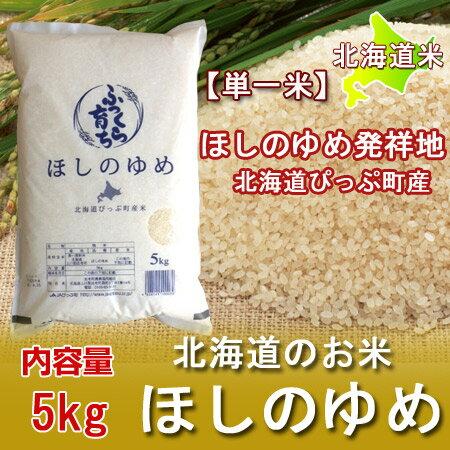 【北海道米】 【ほしのゆめ 米】29年度 米100%!北海道の米、北海道・大雪山と石狩川のミネラル豊富な水で育った、北海道 上川管内 ぴっぷ産 ふっくら育ち ほしのゆめ 米 内容量:5kg