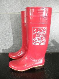 ザクタス耐油長靴Z01(レッド)日本製 魚釣り招き猫プリント入り