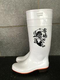 ザクタス耐油長靴Z01(白)日本製 雷神プリント入り