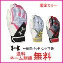 【ネーム刺繍無料】アンダーアーマー 一般用バッティング手袋 両手用 クリーンアップVIグローブ 1295582【送料無…